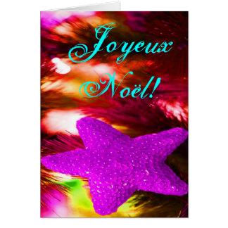 WeihnachtenJoyeux Weihnachten-lila Weihnachtsstern Grußkarte