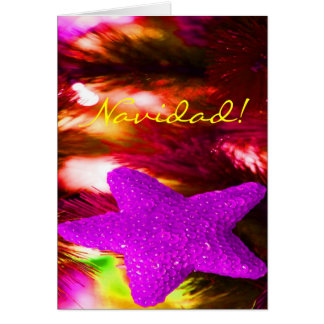 WeihnachtenNavidad lila Stern I Grußkarte