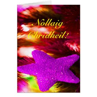 WeihnachtenNollaig Chridheil lila Stern III Grußkarte