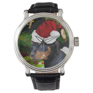 WeihnachtenRottweiler Welpe Uhr