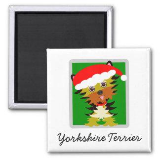 WeihnachtenYorkie Cartoon-Weihnachtsmannmütze Quadratischer Magnet