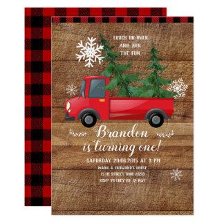 Weihnachts-LKW-hölzerne rote karierte Karte