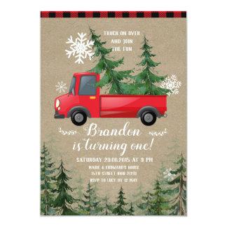 Weihnachts-LKW-rustikale karierte Karte