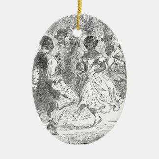 Weihnachtsabends-Festlichkeiten auf einem Keramik Ornament
