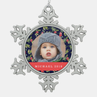 WeihnachtsAquarell-Beeren-u. Kiefern-Muster Schneeflocken Zinn-Ornament