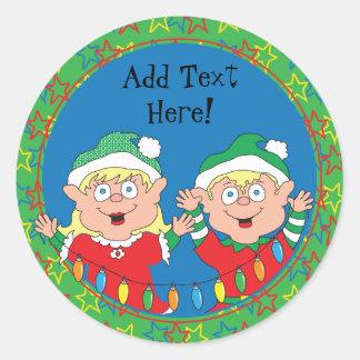 Weihnachtsaufkleber-Elfe. Personifizieren Sie Runder Aufkleber