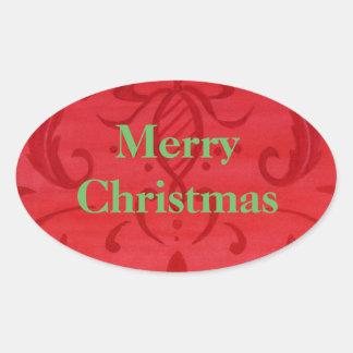 Weihnachtsaufkleber-frohe Weihnacht-rotes Ovaler Aufkleber