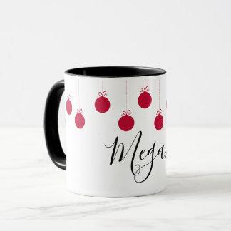 Weihnachtsball-Verzierungs-rote weiße NamensTasse Tasse