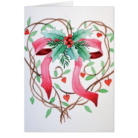 Weihnachtsband in einem Herzen Grußkarte