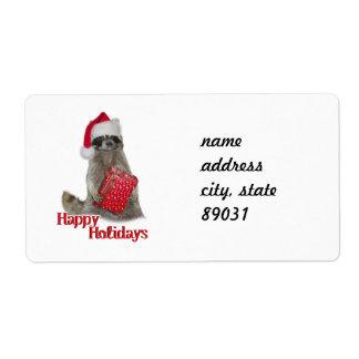Weihnachtsbandit-Waschbär mit Geschenk Großer Adressaufkleber