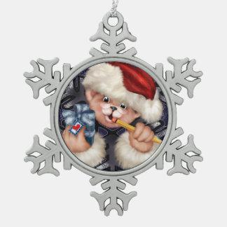 Weihnachtsbärn-Schneeflocke-gerahmte Verzierung Schneeflocken Zinn-Ornament