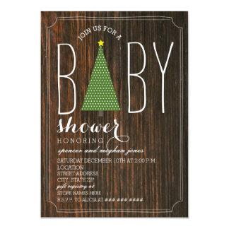 Weihnachtsbaum-Babyparty-Einladung - Barnwood Karte