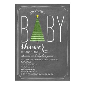 Weihnachtsbaum-Babyparty-Einladung - Kreide Karte