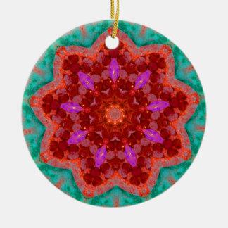 Weihnachtsbaum beleuchtet Fraktal Keramik Ornament