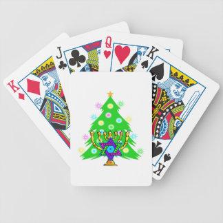 Weihnachtsbaum Chanukka Menorah Bicycle Spielkarten