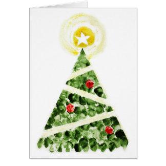 Weihnachtsbaum gemalt mit den Fingern Karte