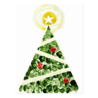 Weihnachtsbaum gemalt mit den Fingern Postkarte