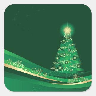 Weihnachtsbaum, grüner quadratischer aufkleber