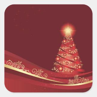 Weihnachtsbaum in einem roten quadratischer aufkleber
