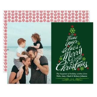 Weihnachtsbaum-Kalligraphie-Skript-Feiertags-Foto Karte