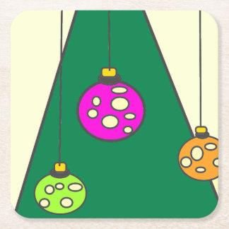 Weihnachtsbaum mit Birnen auf hellgelbem XMAS14 Kartonuntersetzer Quadrat
