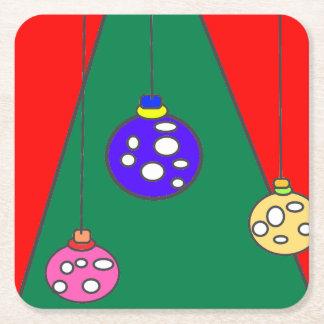 Weihnachtsbaum mit Birnen auf rotem XMAS15 Kartonuntersetzer Quadrat