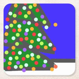Weihnachtsbaum mit Birnenpunkten auf Blau. XMAS13 Kartonuntersetzer Quadrat