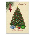Weihnachtsbaum mit Geschenken für Mamma- und Vatik Karten