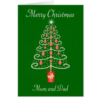 Weihnachtsbaum-Mutter-und Vater-Weihnachten Karte