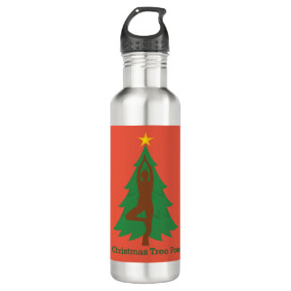 """""""Weihnachtsbaum-Pose"""" Wasserflasche"""