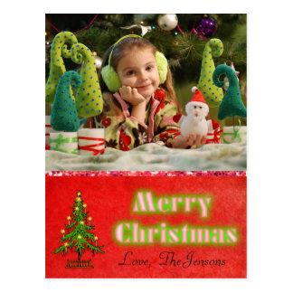 Weihnachtsbaum-Postkarten-personalisiertes Rot Postkarte