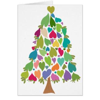Weihnachtsbaum-Regenbogen-Liebe-Herzen Karte