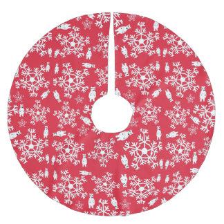 Weihnachtsbaum-Rock-rotes Weiß Polyester Weihnachtsbaumdecke
