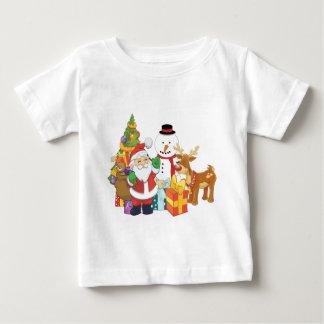 Weihnachtsbaum-Sankt-Ren-Schneemann Baby T-shirt