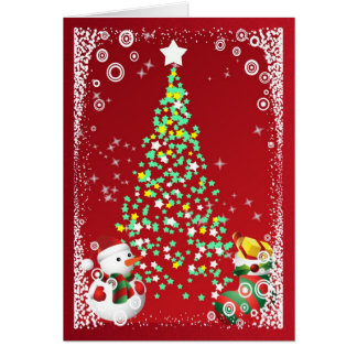 Weihnachtsbaum-Snowman und Strumpf mit Geschenken Karte