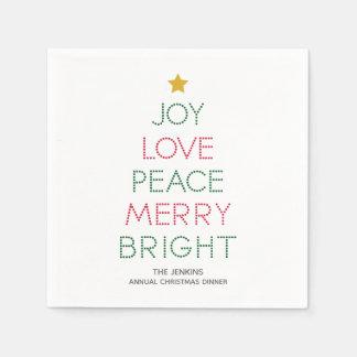 Weihnachtsbaum-Typografie-Weihnachtsserviette Serviette