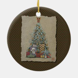 Weihnachtsbaum u. Geschenke Keramik Ornament