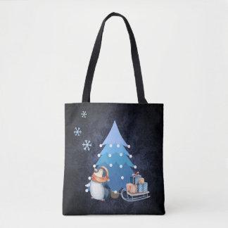 Weihnachtsbaum und Pinguin, die Geschenke holen Tasche