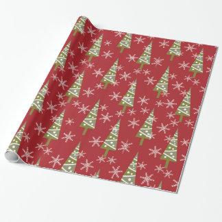 Weihnachtsbaum-und Schneeflocke-Feiertag Geschenkpapierrolle