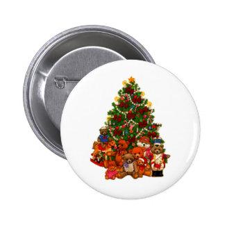 Weihnachtsbaum und Teddybären Runder Button 5,7 Cm