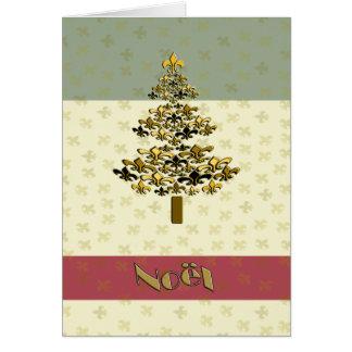 Weihnachtsbaum-Weihnachten Gold Fleur de Lys Karte