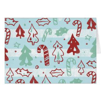Weihnachtsbaum-Zuckerstange-Stechpalmen-Muster auf Karte