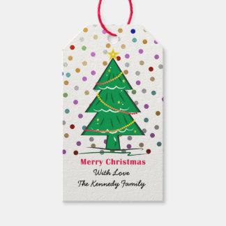 WeihnachtsbaumConfetti punktiert Geschenkanhänger