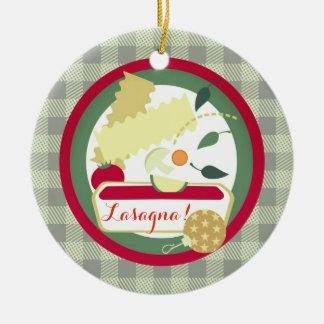 Weihnachtsbaumverzierung Nahrung der Lasagne Rundes Keramik Ornament