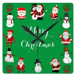 Weihnachtsbeifall Quadratische Wanduhr