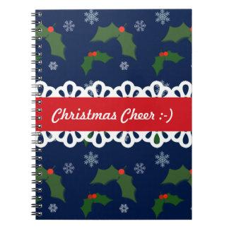 Weihnachtsbeifall-Stechpalmen-Beeren-Muster Spiral Notizblock