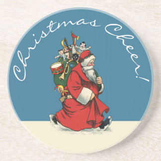 Weihnachtsbeifall: Vintage Sankt mit Sack Getränkeuntersetzer