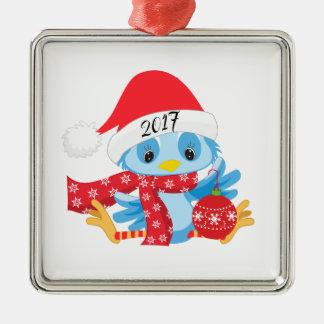 Weihnachtsblaues Vogel ornamament Silbernes Ornament