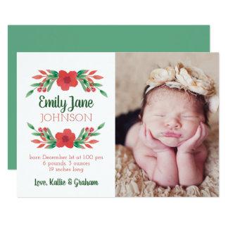 WeihnachtsblumenFoto-Geburts-Mitteilung Karte