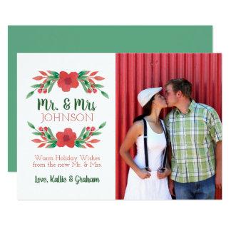 WeihnachtsblumenFoto-neuer Herr und Frau Holiday Karte